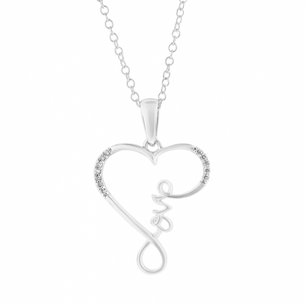 .04 CTW Sterling Silver Love/Heart Diamond Necklace by Daphne Diamond